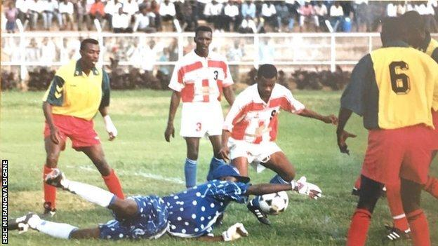 Eric Murangwa Eugene in action for Rwanda
