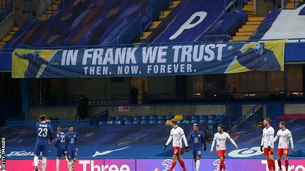 """In Frank we trust,"" read a banner at Stamford Bridge during Sunday's FA Cup win over Luton"