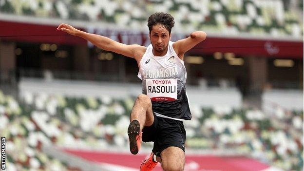 Hossain Rasouli competes in long jump at Tokyo Paralympic Games