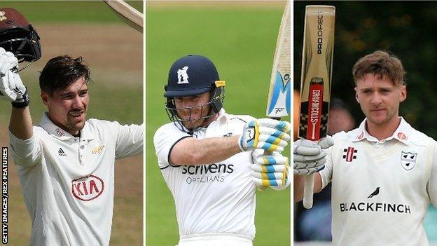 Rory Burns, Ian Bell and Joe Clarke