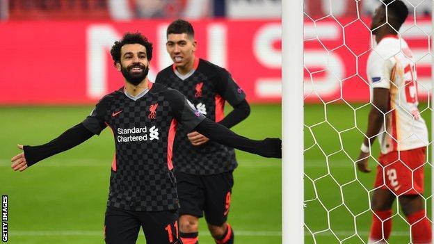 Mohamed Salah celebrates scoring against RB Leipzig