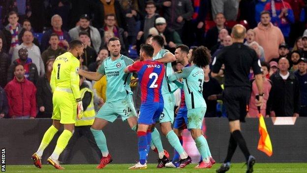 Players from both sides clashed at the final whistle