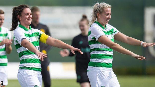 Celtic's Kelly Clark (left)