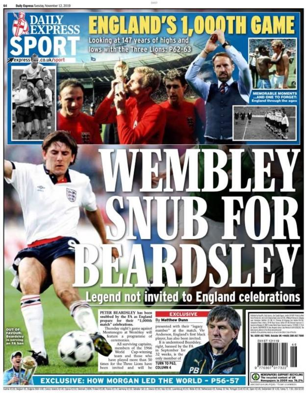 The back page of the Express