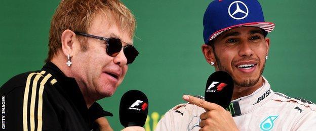 Sir Elton John and Lewis Hamilton