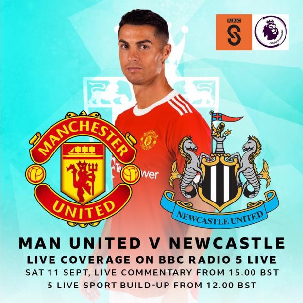 Graphic advertising Man Utd v Newcastle being on BBC Radio 5 live