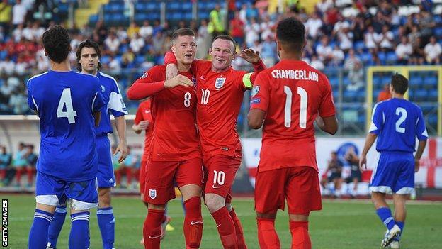 England celebrate scoring against San Marino in 2015
