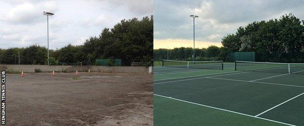 Before and after - renovation of the tennis courts in Hingham