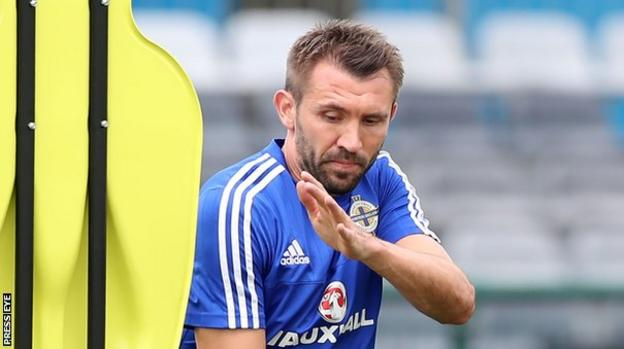 Gareth McAuley at Northern Ireland training on Wednesday