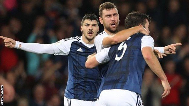 Scotland celebrate James McArthur's equaliser