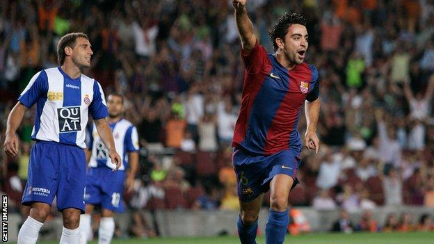 Xavi celebrates after scoring against Espanyol during a Supercup, 2nd leg, match at the Camp Nou stadium on August 20, 2006