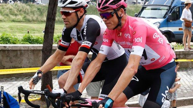 Britain's Christopher Froome rides with Netherlands' Tom Dumoulin during the 21st and last stage of the 101st Giro d'Italia