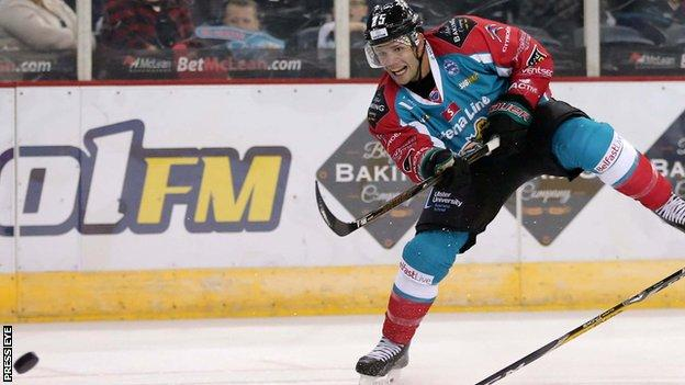 Blair Riley scored two late goals for the Belfast Giants in Scotland on Sunday