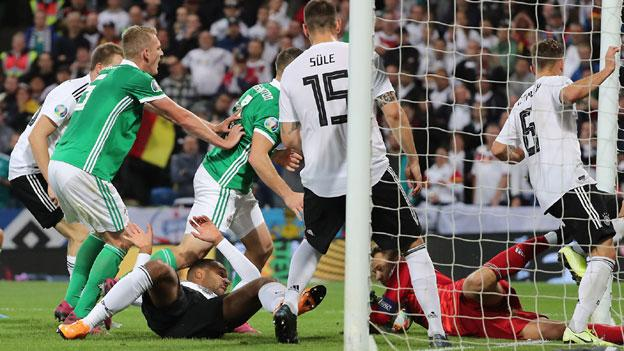 Northern Ireland in action against Germany