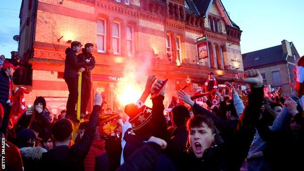 Liverpool fans welcomed the team bus to Anfield in the same way as any other big European night