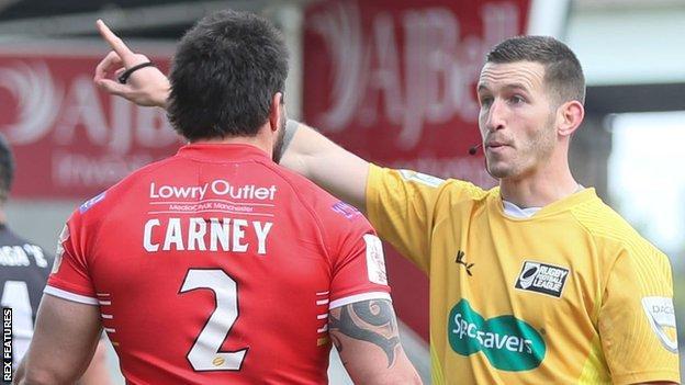Justin Carney sent off by referee Jack Smith