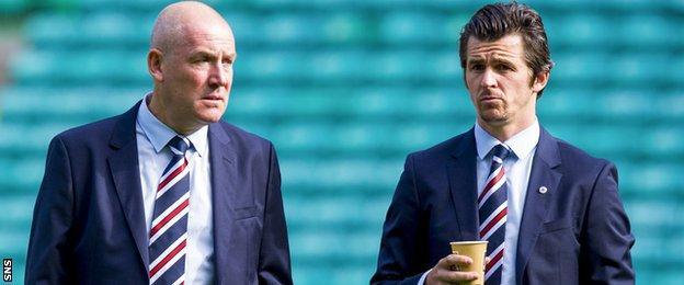 Rangers manager Mark Warburton and midfielder Joey Barton