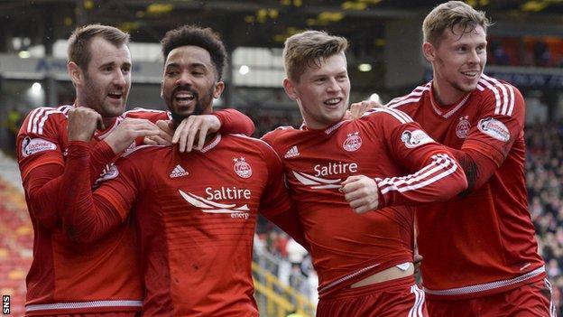 Aberdeen players celebrate Shay Logan's goal