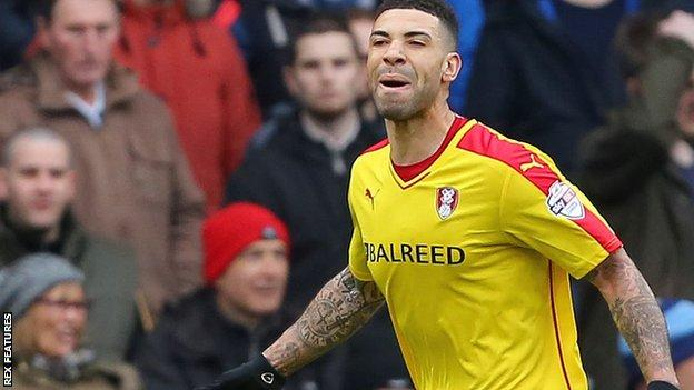 Rotherham's Leon Best celebrates his goal against Ipswich