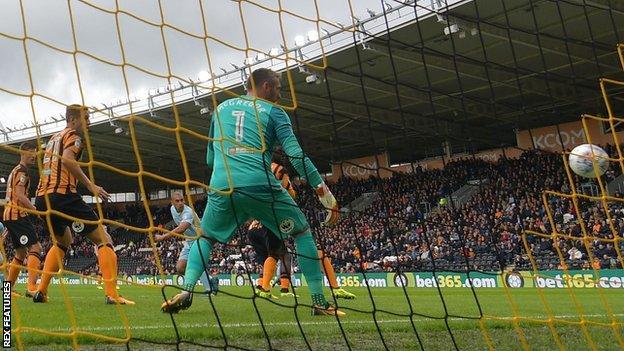 James Vaughan's header beats Hull City goalkeeper Allan McGregor