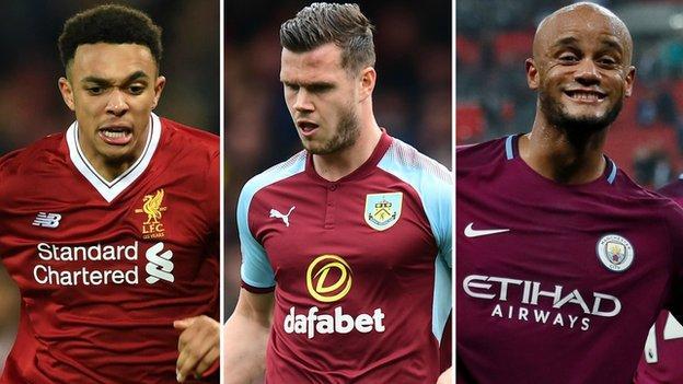 Liverpool's Trent Alexander-Arnold, Burnley's Kevin Long, Manchester City's Vincent Kompany
