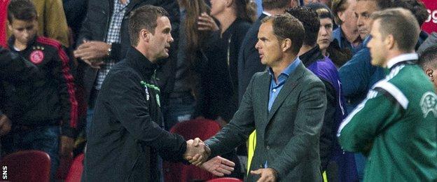 Celtic manager Ronny Deila and Ajax counterpart Frank de Boer