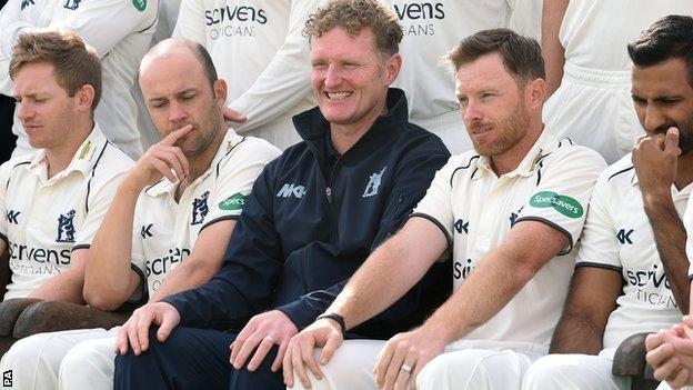 Coach Dougie Brown and skipper Ian Bell are not short of experience in the dressing room at Edgbaston, with two other former captains on the staff, Ian Westwood (left) and Varun Chopra (right), as well as former England batsman Jonathan Trott