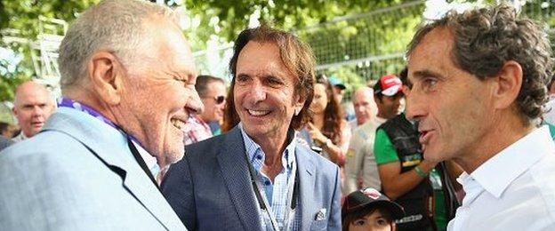 Former F1 world champions Emerson Fittipald and Alain Prost with ex-Williams designer Patrick Head