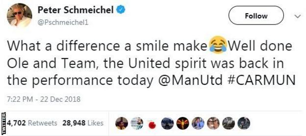 Tweet from Peter Schmeichel saying 'What a difference a smile makes'