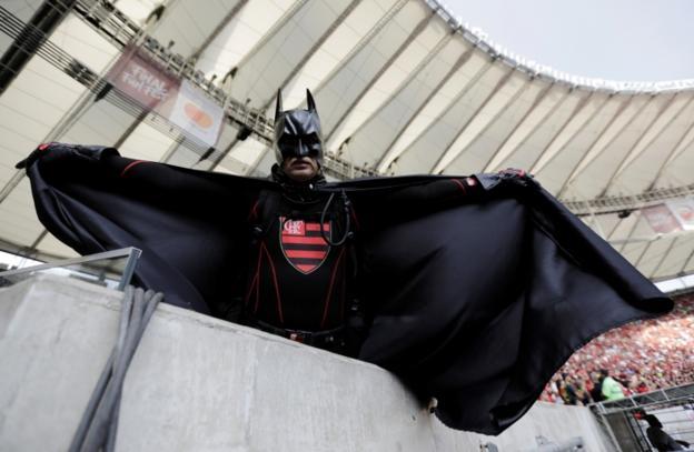Flamengo fan dressed as Batman