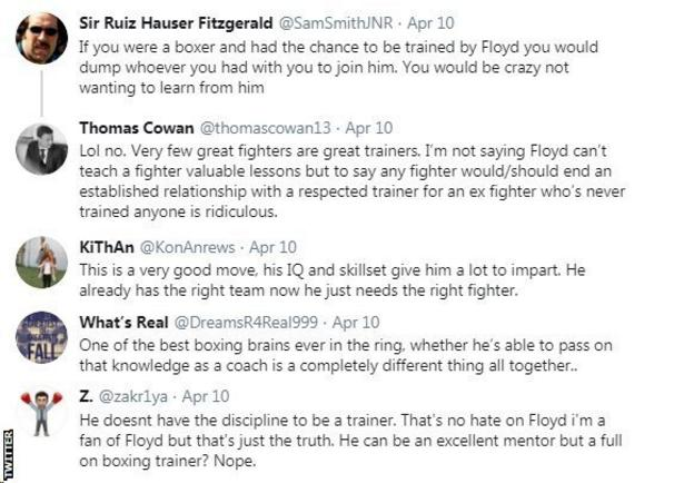 Boxing fans on Twitter react to Floyd Mayweather becoming a trainer. One fan says his boxing IQ will give him a lot to impart, whilst another fan believes Mayweather doesn't have the discipline to become a trainer.
