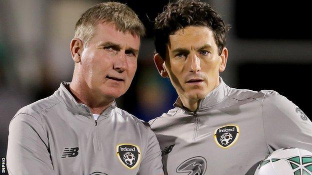 Republic of Ireland boss Stephen Kenny with assistant manager Keith Andrews