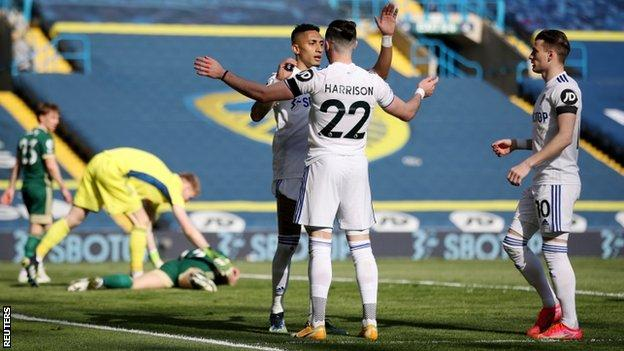 Leeds players celebrate Phil Jagielka's own goal