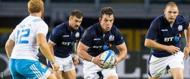 John Hardie in action against Italy