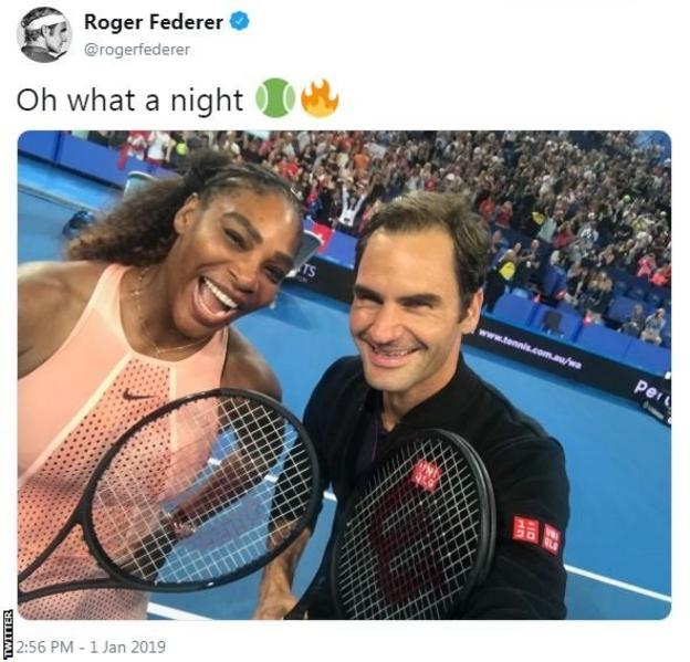 "Tweet by Roger Federer saying ""oh what a night"" above a picture of him and Serena Williams"