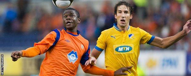 Leke James (left) in action for Aalesunds against APOEL in the Europa League
