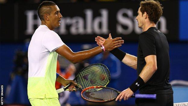 Nick Kyrgios against Andy Murray