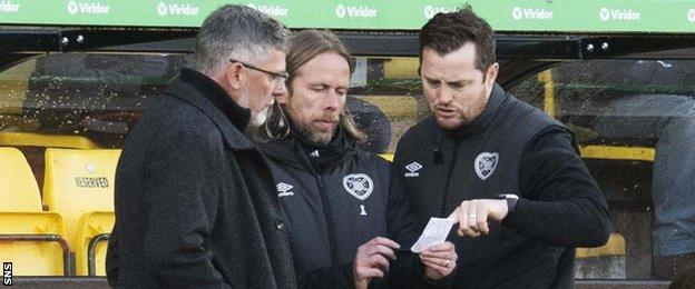 Hearts manager Craig Levein, assistant Austin MacPhee and coach Jon Daly