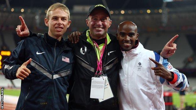 Galen Rupp (left), Alberto Salazar (centre) and Mo Farah