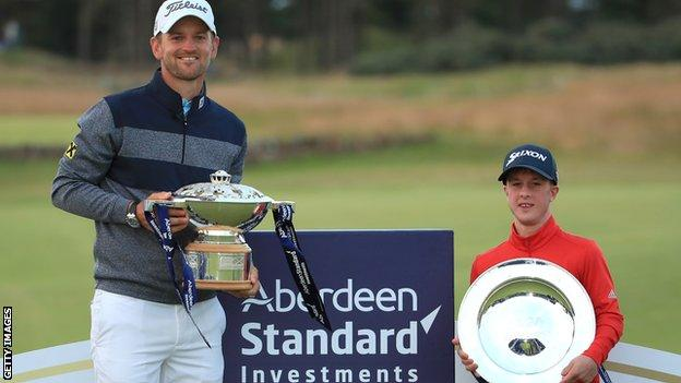 Brendan Lawlor and Bernd Wiesberger with their Scottish Open trophies