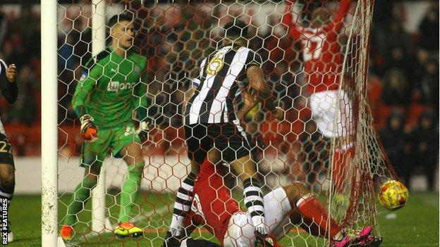 Newcastle defender Jamaal Lascelles in the goal