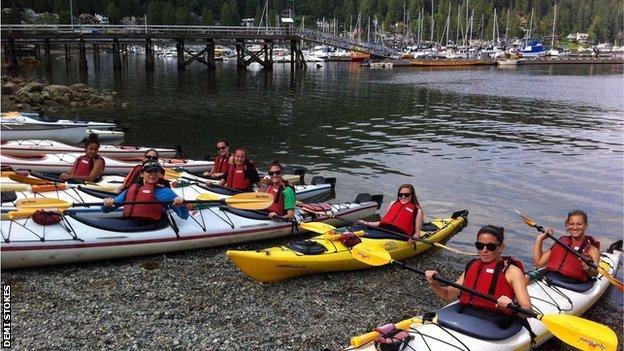 Demi Stokes kayaking in Canada