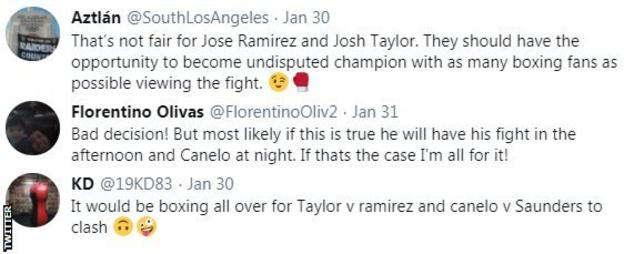 """Boxing fans on Twitter share their frustration at reports that Ramirez-Taylor could clash with Canelo-Saunders, with one fan saying it is """"boxing all over""""."""