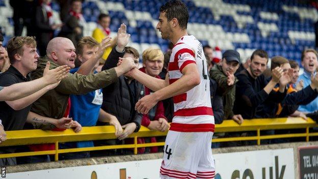 Lucas Tagliapietra celebrates with the Hamilton fans at full time