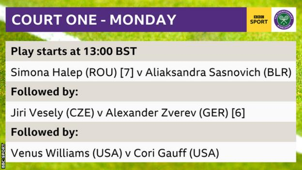Order of play on Wimbledon court one