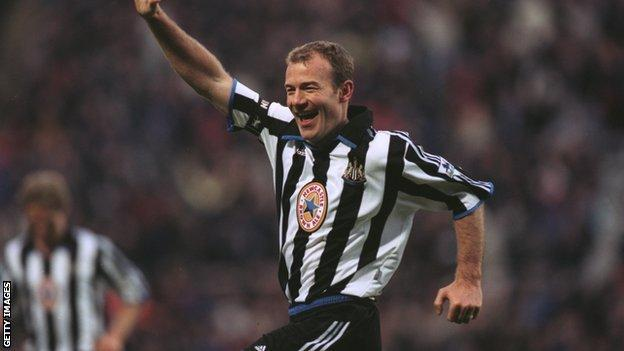 Alan Shearer celebrating at Newcastle