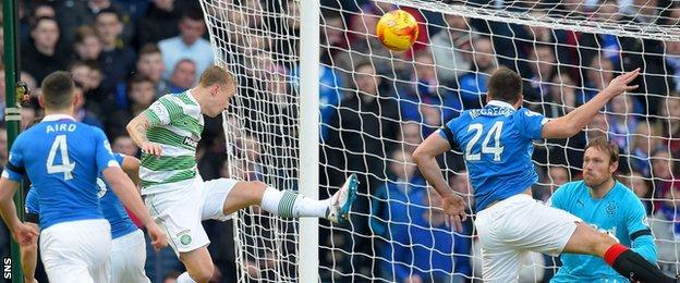 Leigh Griffiths heads Celtic into the lead against Rangers last year