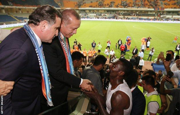 President Erdogan and Emmanuel Adebayor