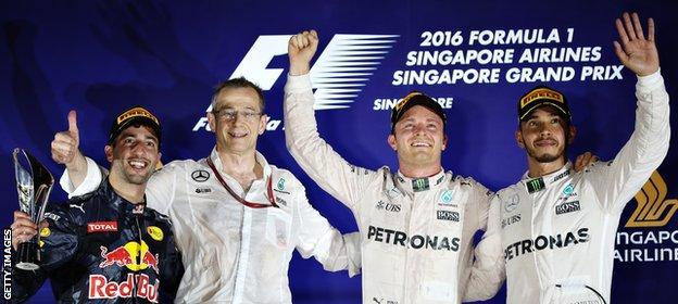 Lewis Hamilton on the podium in Singapore