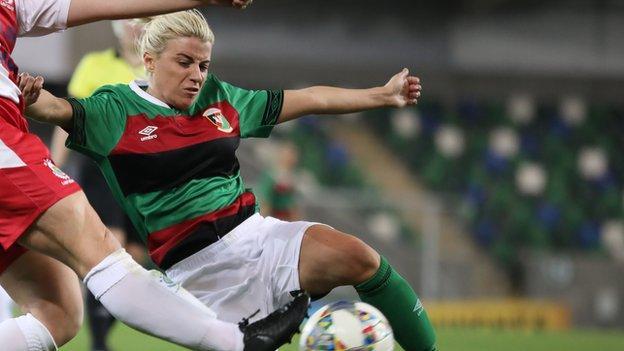 Glentoran forward Rachel Rogan saw her effort ruled out against Linfield